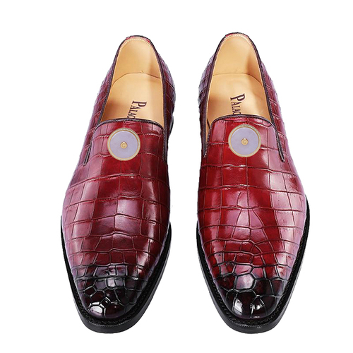 Red crocodile belly men's shoes (inlaid with Emerald)