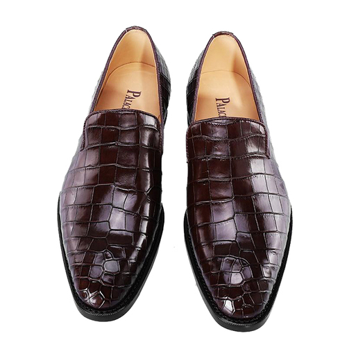 Brown crocodile belly men's shoes
