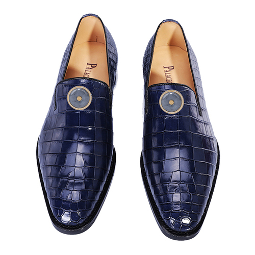 Blue crocodile belly men's shoes (inlaid with Emerald)