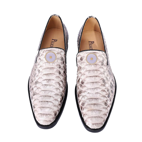 White boa skin men's shoes (inlaid with Emerald)