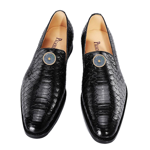 Black boa skin men's shoes (inlaid with Emerald)