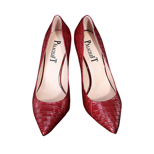 Wine red crocodile belly shoes