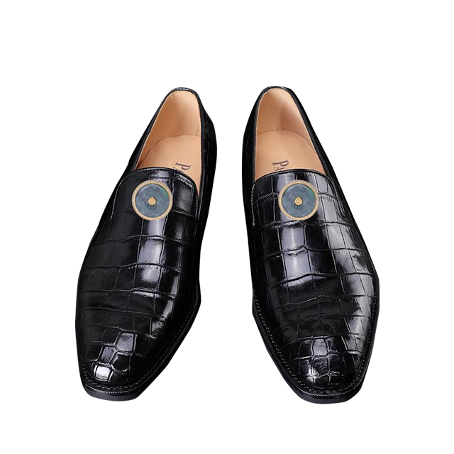 Black Crocodile belly men's shoes (inlaid with Emerald)