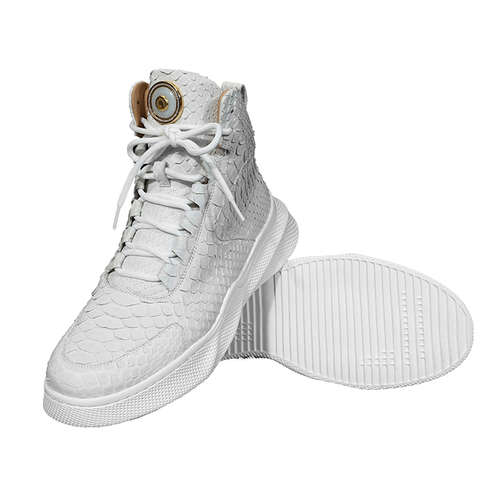 White Python leather sneakers (inlaid with Emerald)