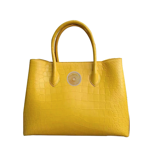 Truth crocodile belly bag (yellow with Emerald)