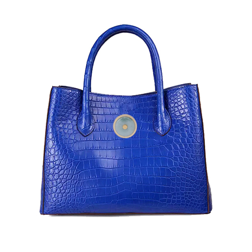 Truth crocodile belly bag (blue with Emerald)