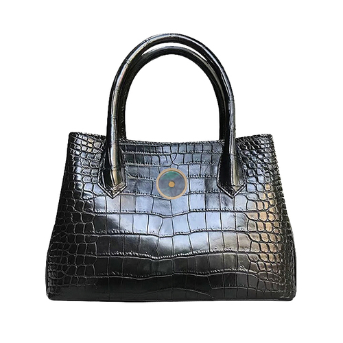 Truth crocodile belly bag (black with Emerald)