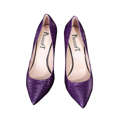 Purple crocodile belly shoes